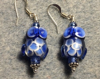 Bright blue lampwork owl bead earrings adorned with blue Czech glass beads.