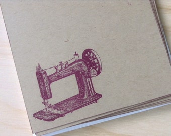 vintage inspired flat note cards and envelopes, stationery set, vintage sewing machine,  set of 10