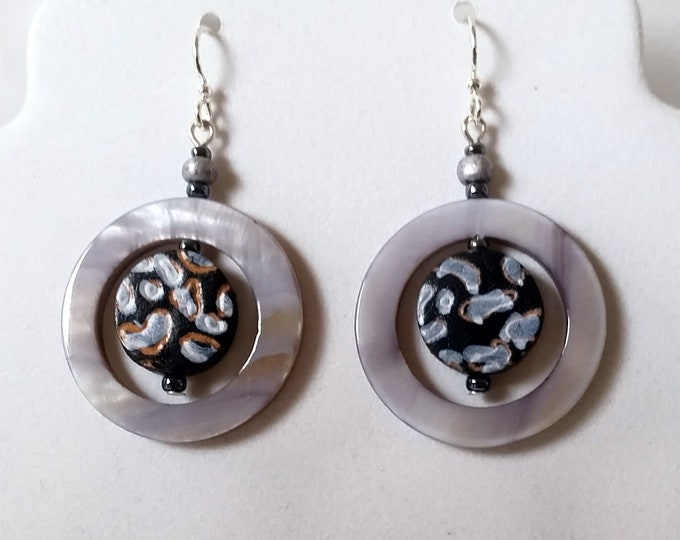 Mother of Pearl Shell Hoop Earrings with Leather Coin Bead Centers - Shell and Leather Earrings - Earthy Leather and Shell Jewelry