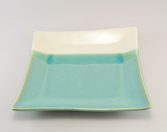 Serving Platter, Ceramic Platter, Ceramic Serving Tray, Square Plate, Jade Plate, Teal Plate, Ready to Ship