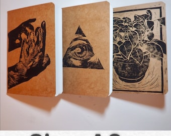 A6 Hand printed costomised notebook small sketchbooks two sizes chose your design plants hands eyes lino cut original prints