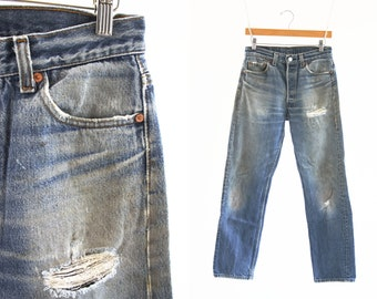 """29"""" X 29"""": Vintage 80's UNISEX Levi Strauss 501 XX High Waist Straight Leg Shrink To Fit Highly Distressed Faded Retro Denim Jeans"""