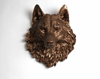 The Penny - Bronze Resin Wolf Head - Resin White Faux Taxidermy - Chic & Trendy - White Faux Taxidermy