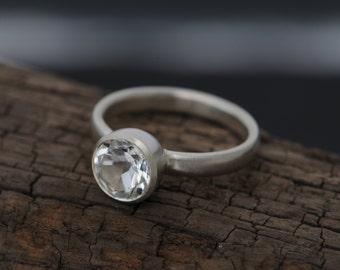 Size 8.5 White Topaz Engagement Ring - White Topaz Solitaire Ring - Round White Topaz Ring Size 8.5 Engagement Ring - FREE SHIPPING
