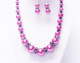 Fuchsia Graduated Glass Pearl Princess Necklace/Bracelet/Earrings w/Black Rondelle Rhinestone