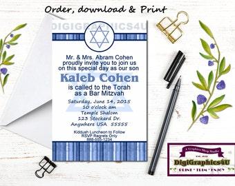 Bar Mitzvah, Jewish Birthday Party Invitation or Celebration - Personalized Printable File