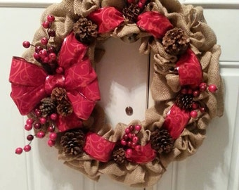Cranberry and Pine Cone Christmas Wreath