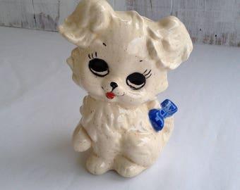 Vintage Bank Puppy Bank Puppy Figurine Dog Figurine Big Eyes Puppy White Puppy Ceramic Dog Retro Home Ceramic Figurine Vintage Dog