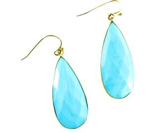 Turquoise Earrings, Teardrop Gemstone Earrings, Turquoise & Gold Jewelry, Boho Jewelry
