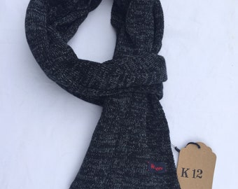 K12 hand-knitted mélange cotton scarf. spring summer 2018. 25cm high and 1600cm long
