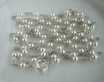 Very Long Crystal and White Pearl Chain Necklace Long Swarovski White Pearl Necklace (65.5 Inches)