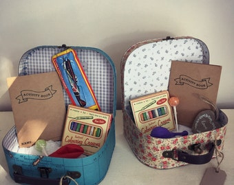 Childrens Vintage Style Activity Suitcase - a perfect gift to keep the little guests entertained!