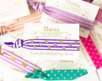 Birthday Party Hair Tie Favors | Personalized Birthday Party Hair Tie Favors, Slumber Party Hair Tie Favors, Teen Tween Girl Birthday Favor