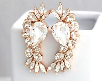 Bridal Earrings, Statement Bridal Earrings, Bridal Crystal Swarovski Long Earrings, Clear Crystal Statement Earrings, Swarovski Earrings