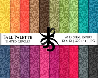 Digital Scrapbook Papers-Tinted Circles-Fall Palette-Autumn-Abstract Patterns-Backgrounds-Wallpaper-Printable-Instant Download Clipart