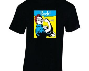 Ladies Tshirt, Rosie, Rock, Drummer shirt