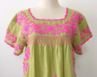 Boho Embroidered Top With 3/4Th Sleeve