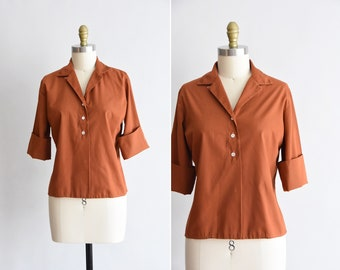 1950s Nutmeg blouse/ vintage 50s cotton blouse / John of california cotton blouse