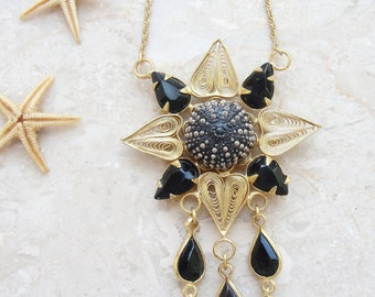 Sea Urchin Necklace Black Gold Plated Vintage Telkari (Ooak)