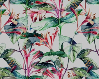 Lonicera flower peel and stick wallpaper || Temporary wallpaper || Removable, repositionable! || Exotic flowers decor   #22