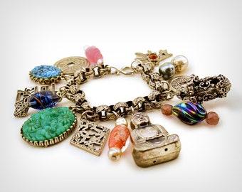 50s Bracelet // 1950s Charm Bracelet in Chinese Motif // Vintage Pin