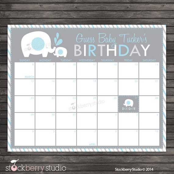 Elephant Baby Shower Guess The Due Date Calendar Printable