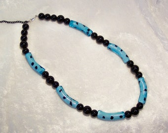 Black Necklace, Blue Necklace, Glass Beads, Blue Glass Noodle Bead Necklace, Blue With Black Polkadot, Free US Shipping