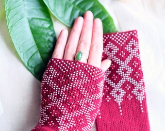 wrist warmers, mittens, beaded wrist warmers, wristers, fingerless gloves, gloves, hand knitted, gloves, mittens, knitted wrist warmers,