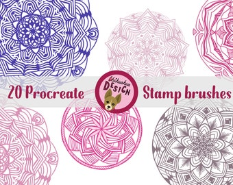 20 Mandala stamp brushes for Procreate, Set of 20 brushes for Procreate, Stamps for iPad, Procreate brush, Brush bundle Procreate, Mandala