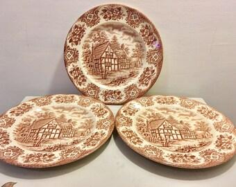 Set of three vintage english ironstone tablewear plates with red cottage motif - retro kitchen - vintage kitchenware - home decor