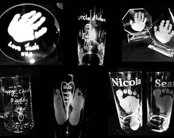 Child Hand Print or Foot Print on Glass perfect for Birthday,Mums,Dads,Grandparents ,Godparents.