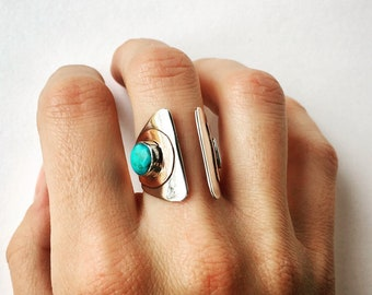 Silver, copper and turquoise ring