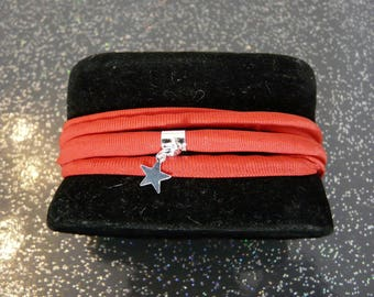 Trendy red Lycra women bracelet