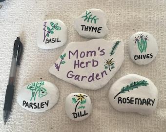Handpainted Herb Garden Rocks
