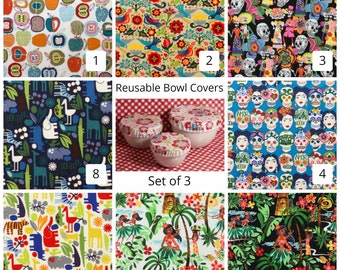 Laminated Cotton aka Oilcloth Reusable Bowl Covers set of 3 great for picnics, parties, everyday, Alexander Henry prints, PICK YOUR FABRIC