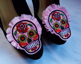 Mexican Party Sugar Skull / Frida Kahlo Inspired Shoe Clips - Day of the Dead, Día de Muertos, Tequila