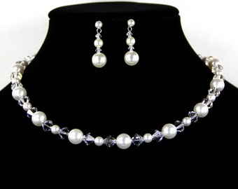 Bridal Jewelry Necklace Set with Swarovski Crystals & Pearls