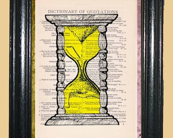 Yellow Sand Hourglass Art - Vintage Dictionary Page Art Print Upcycled Book Page Art Collage Hourglass Art Print