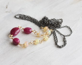 Ruby & opal necklace, Gemstone necklace, Ruby choker, Mixed metals necklace, Oxidised silver and gold layering necklace, Gift idea for her