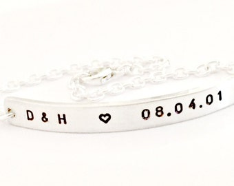 Personalized Skinny Bar Bracelet - Hand Stamped Sterling Silver - Custom Nameplate, Initials, Anniversary - Minimalist Trendy Jewelry Gift