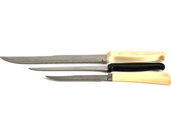 Quikut Quikedge & Steak Knives; Nuwares Stainless Knife Made in USA Stainless Steel Plastic Handles