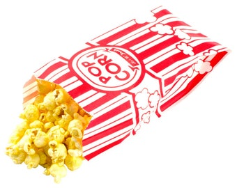 "25 Paper Popcorn Bags, Gusseted Popcorn Bags, Retro Popcorn Bags . 3 1/2"" x 2 1/4"" x 8 1/4"" 1 oz."