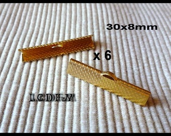 * ¤ Set of 6 gold metal claw greenhouse-Ribbon/tips - 30x8mm ¤ * #A7