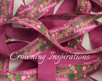 7/8 Irish Blessings Pinch Proof St Particks Day with Green Glitter US Designer ribbon