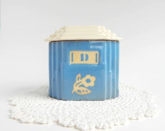 Vintage Blue Drip Jar and Lid, Harker Pottery Cameo Ware, Dainty Flower Blue pattern