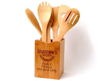 Bamboo Kitchen Utensil Holder - Personalized Gift for Grandma