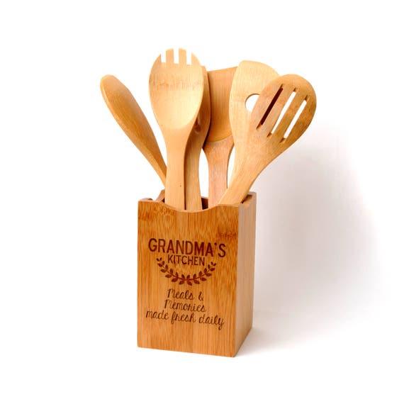 Kitchen Utensil Holder Part - 47: Bamboo Kitchen Utensil Holder Personalized Gift For Grandma