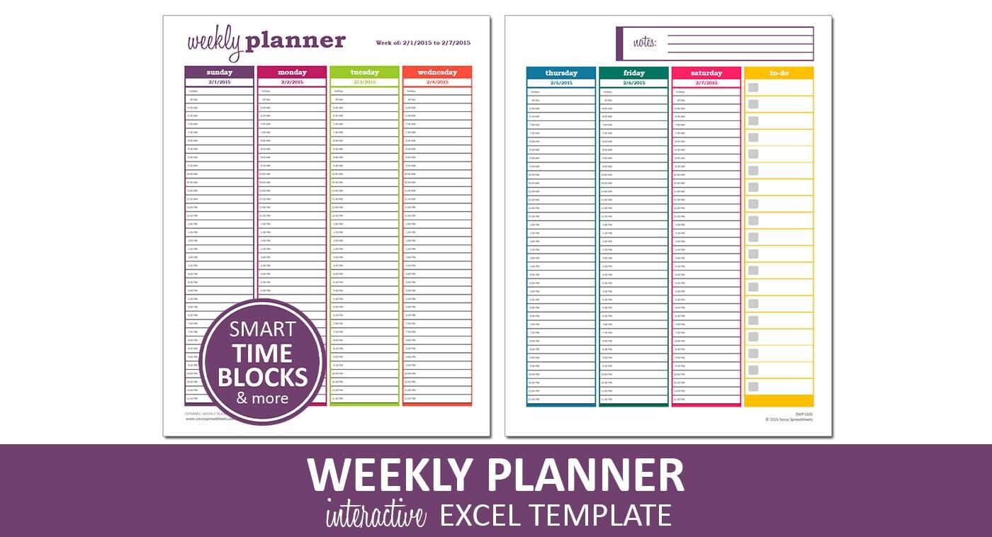 Dynamische Wochenplaner Druckbare Excel Kalender Vorlage