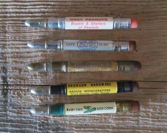Vintage Advertising Bullet Pencils Group of 5