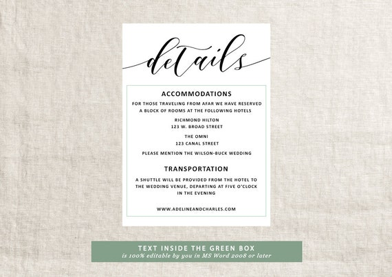 Wedding details template wedding information card rustic wedding details template wedding information card rustic wedding details template rust wedding invitation suite wedding information filmwisefo Choice Image